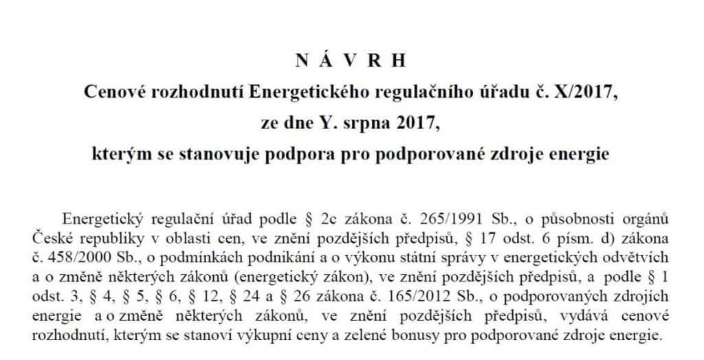Návrh cenového rozhodnutí pro rok 2018